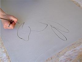 Нанесение вручную контуров фрески